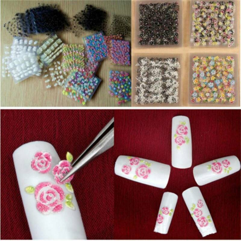 50 Sheets 3D Flower Tips Nail Art Transfer Stickers Decals Manicure Decoration J 3