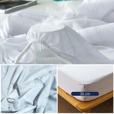 All Size Fully Fitted Terry Cotton Waterproof Mattress Protector Bed Soft Cover 8