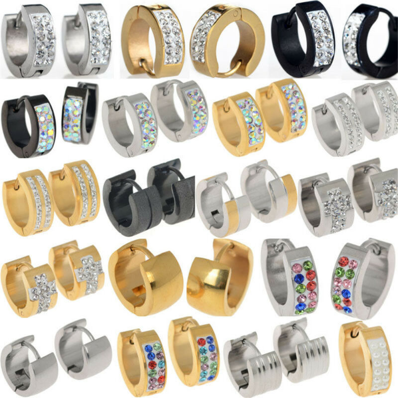 1 Pairs Fashion Women/Men Stainless Steel Hoop Earrings Circle Round Jewelry 5