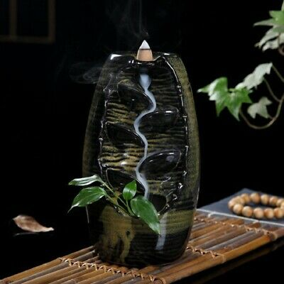 Ceramic Mountain Waterfall Smoke Backflow Incense Burner Censer Cones Holder AU 3