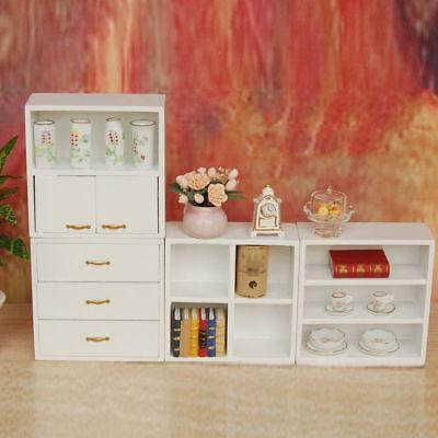 1/12 Dolls House Miniature Bedroom Kitchen Living Room Furniture Set Bed Cabinet 9