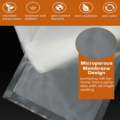 100 X Vacuum Sealer Bags Precut Food Storage Saver Heat Seal Cryovac 3 Size 7