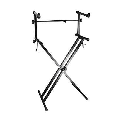 X Style Pro Dual Music Keyboard Stand Electronic Piano Double 2-Tier Adjustable 3
