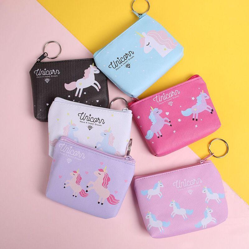 Cute Coin Purse Holder Unicorn Mini Change Wallet Coin Bag Zipper Pouch Gifts 3