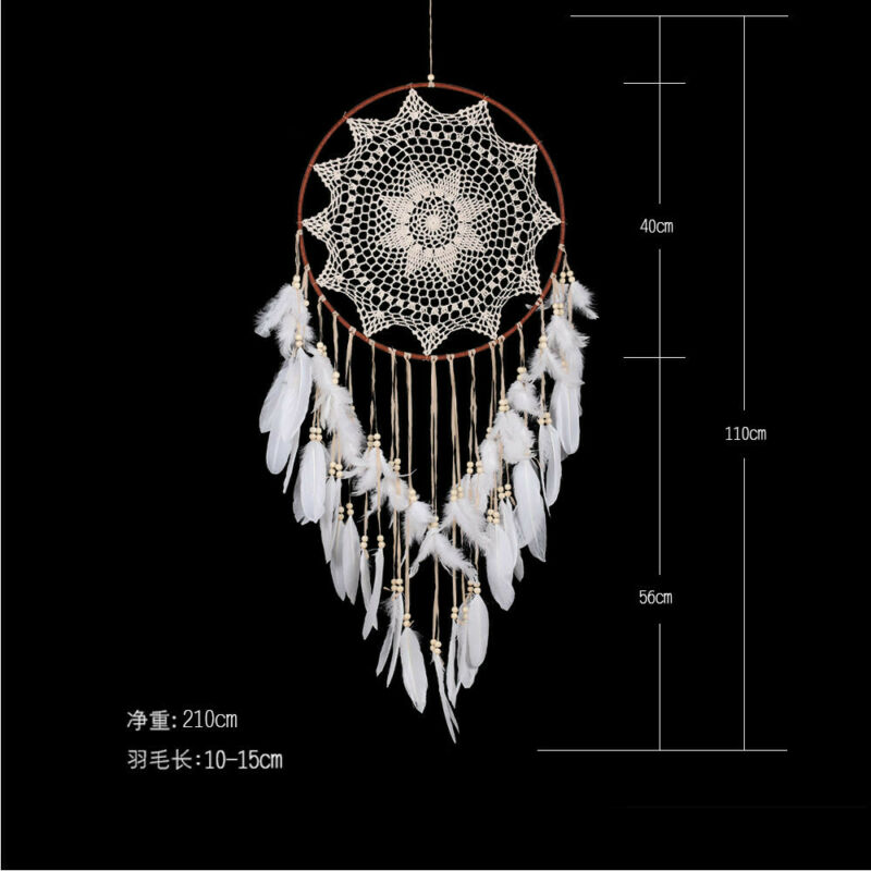 43 inch Large Handmade Dream Catcher With White Feathers Bead Kids Room Decor US 6