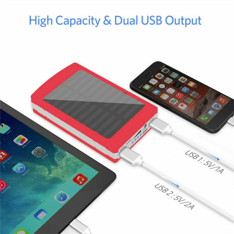 30000mAh Dual USB Portable Solar Battery Charger Power Bank For Cell Phone 6