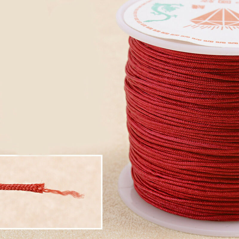 0.8mm Nylon Cord Thread Chinese Knot Macrame Rattail Bracelet Braided String 45M 6