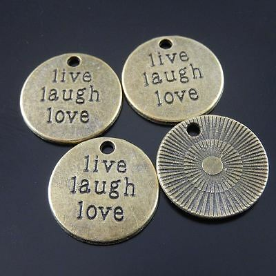 30X Vintage Style Bronze Tone Live Laugh Life Motto Pendant Charms 19*19*2mm 5