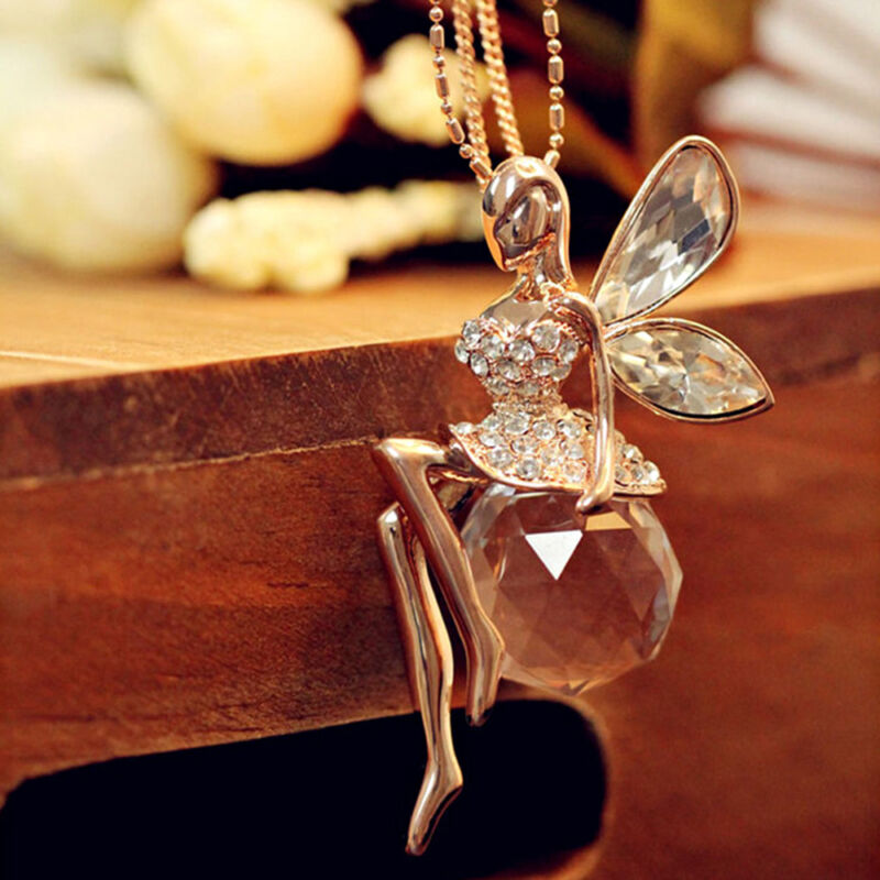 Fashion Women Crystal Fairy Angel Wing Pendant Long Chain Sweater Necklace Gift 6