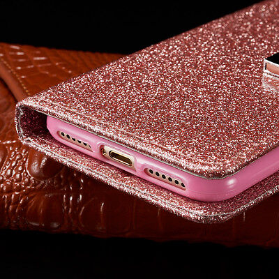 Bling Glitter Magnetic Flip Cover Stand Wallet Leather Case For iPhone 6s 5s 7 8 7
