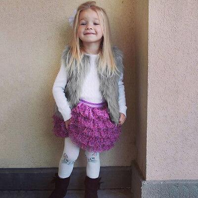 Baby Girls Kid Winter Faux Fur Waist Gilet Jacket Outwear Vest Coat Waistcoat AE 4