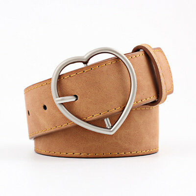 Stylish Ladies Women Heart Buckle Belt Dress Jeans Faux Leather Waistband NEW 8
