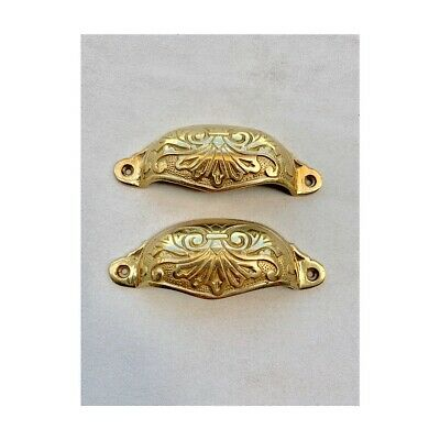 4 engraved cast shell shape pulls handles solid brass vintage POLISHED drawer 4
