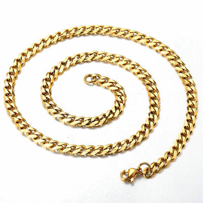 """18""""-36"""" Stainless Steel Gold Tone Chain Cuban Curb Mens Necklace 3/5/7/9/11mm 8"""