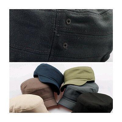 527579d24 UNISEX MENS WOMENS Short Brim Casual Cadet Military Cap Trucker Hats Khaki