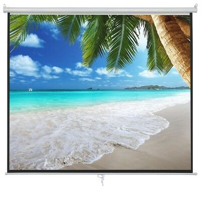 100 Inch 16:9 Manual Pull Down Projector Projection Screen Home Theater Movie 2