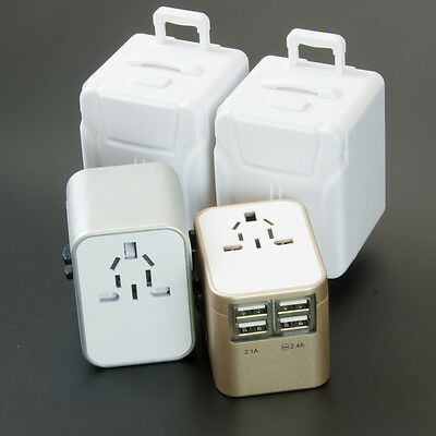 Universal Travel Adapter  USB Wall AC Power 240v 110v for AU EUROPE USA UK 4 USB 3