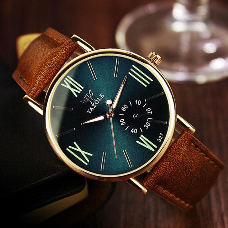 Men's Date Leather Stainless Steel Fashion Noctilucent Sport Quartz Wrist Watch 2