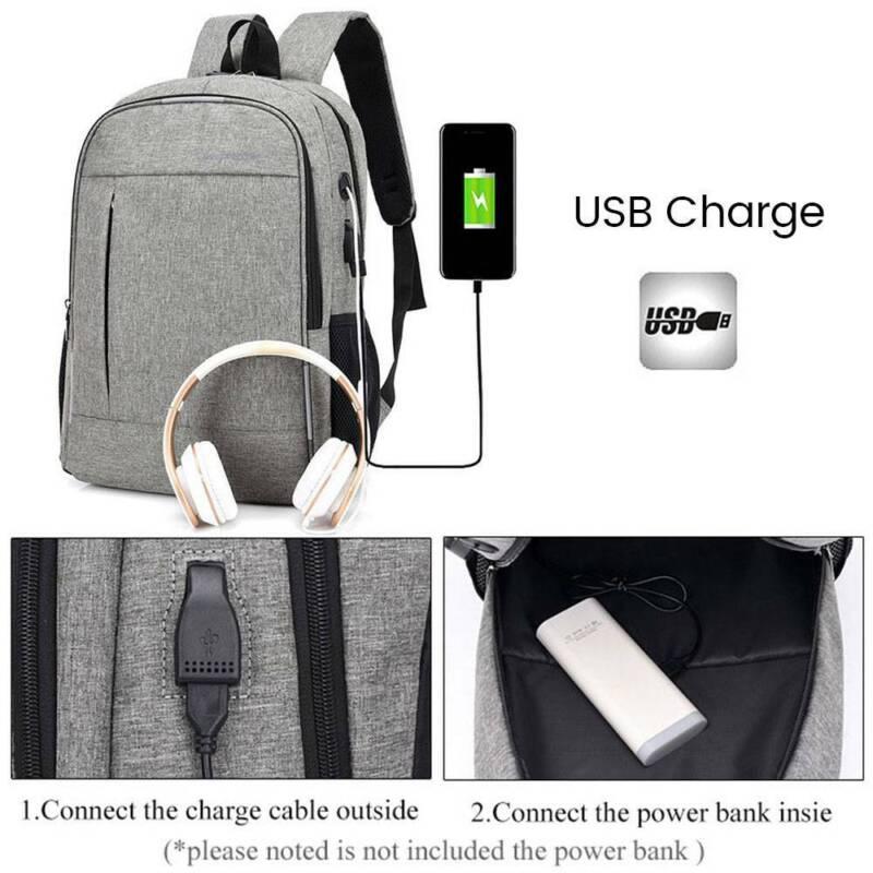 Men's USB Backpack Women Shoulder Laptop School Bag Travel Luggage Rucksack AU 2