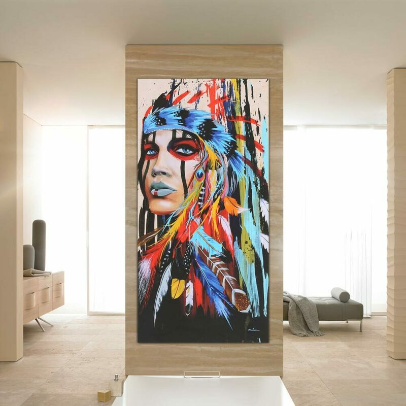 Abstract Indian Woman Canvas Oil Painting Print Picture Home Wall Art Decor UK 8