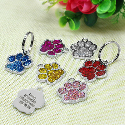 Personalized Dog Tags Engraved Cat Puppy Pet ID Name Collar Tag Bone/Paw Glitter 9