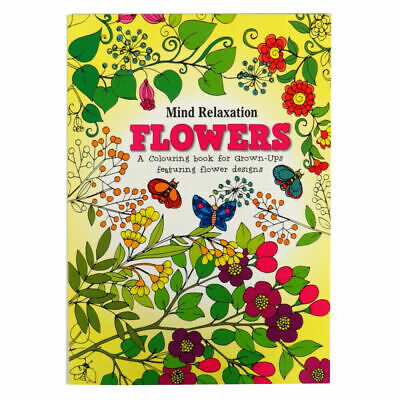 2 x NEW EDITION Patterns & FLOWERS Adult Colouring Book Books, anti stress calm 2