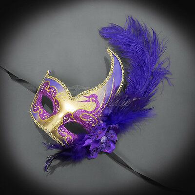 Feather Venetian Mardi Gras Masquerade Mask for Women Purple//Gold M6131
