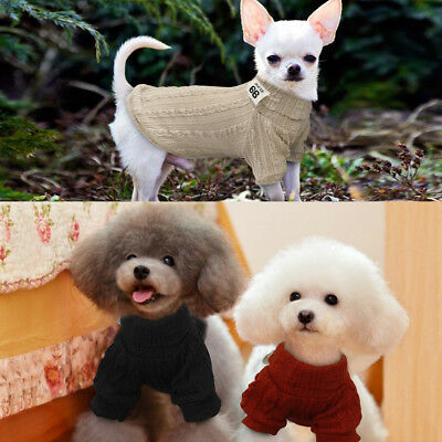 Knitted Dog Sweater Chihuahua Clothes Winter Knitwear Pet Puppy Jumper Red Black 10