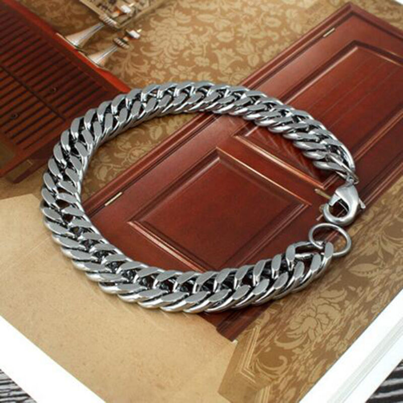 Men's Stainless Steel Silver Chain Link Bracelet Wristband Bangle Jewelry Punk 2