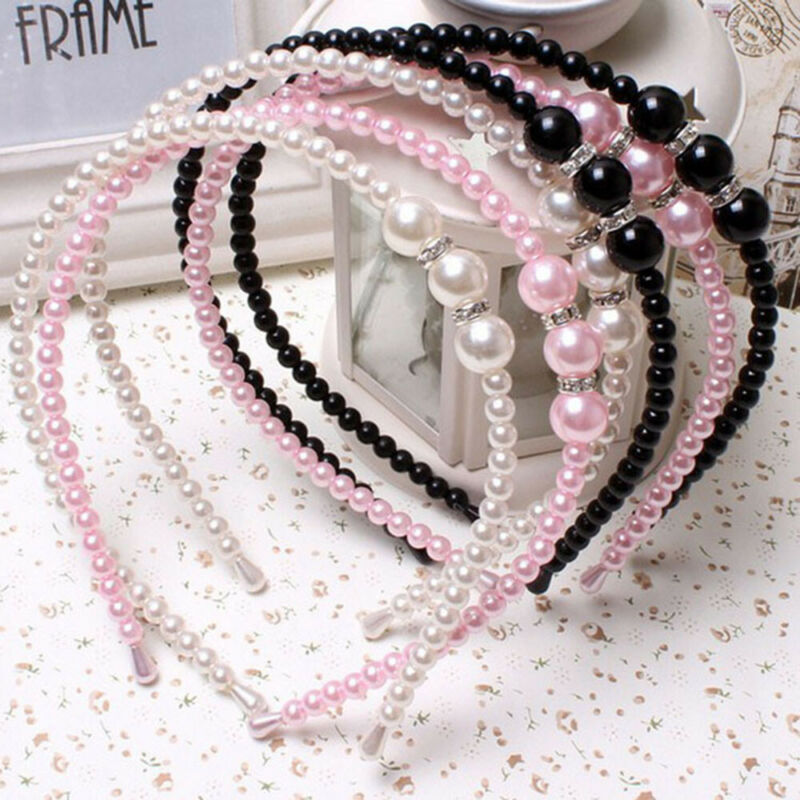Women Rhinestone Hair Band Girls Kids Pearl Princess Women Headbands Hair Style 2