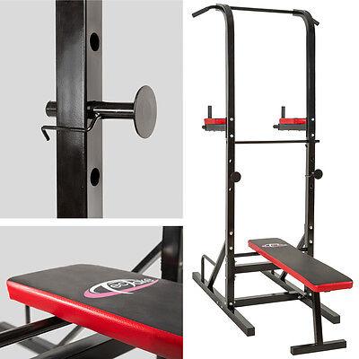 Station De Musculation Exercices Banc Multifonction Dips Barre Traction Haltère
