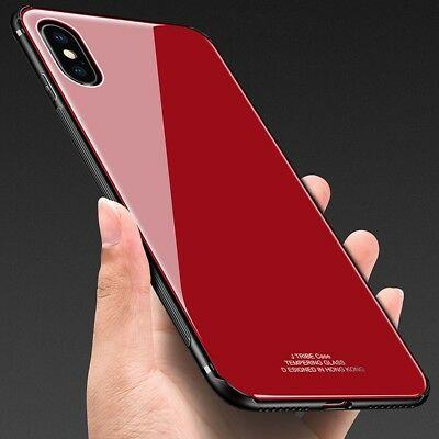 iPhone X XS MAX XR 7 8 Plus Slim Thin Bumper Case Cover Tempered Glass For Apple 12