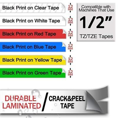 12mm White on Black Compatible with Brother TZ TZe-335 P-Touch Label Tape 2PK 4