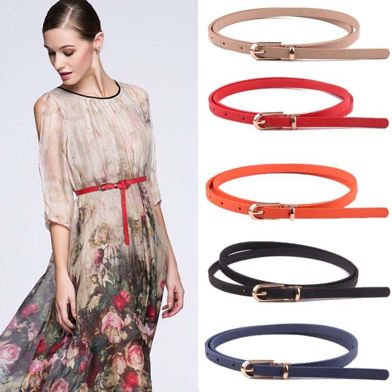 Faux Leather Belts Thin Skinny Waistband Adjustable Belt Women Dress Strap SALE 4