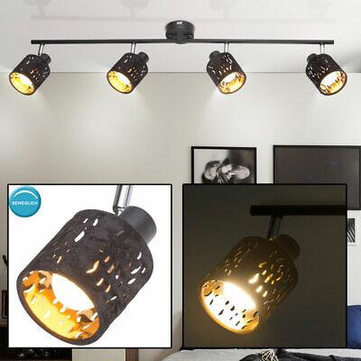 Vintage Decken Lampe schwarz Rondell Spots beweglich Schlaf ZImmer Leuchte GOLD