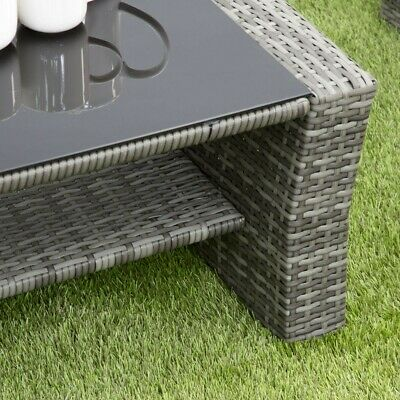 GSD Rattan Garden Furniture 4 Piece Patio Set Table Chairs Grey Black or Brown 5