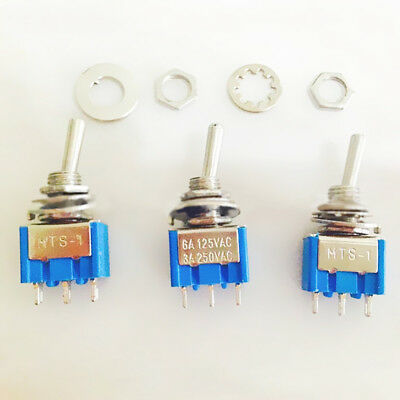 2Pcs AC 6A 125V DPDT 3 Position ON-OFF-ON Power Control Toggle Switch B9V7 1X