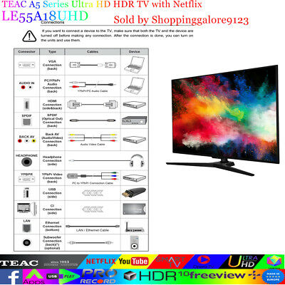 """TEAC 55"""" Inch 4K UHD SMART TV Netflix Youtube HDR Made in Europe 3 Year warranty 11"""