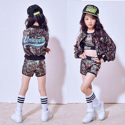 new product 2c8b3 2bbae GIRLS SEQUINED BALLROOM Modern Hip Hop Jazz Costumes Kid Performance Dance  wear