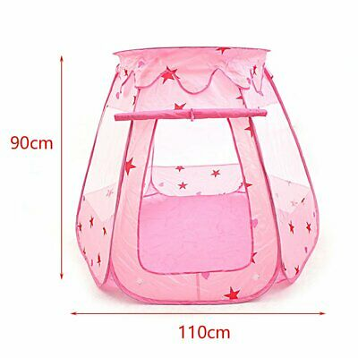 Pink Starry Pop Up Fun Play Tent Playhouse For Girls Kids Baby Children Ball Pit 6