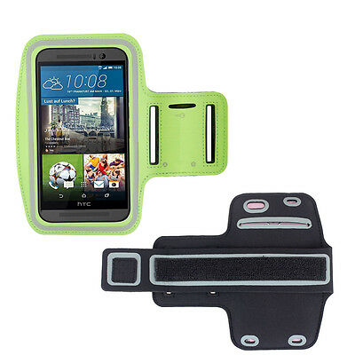 HTC One M9 Lime Green Sports Fitness Running Armband Tie Adjustable