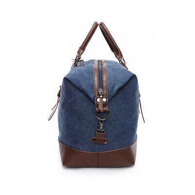 Vintage Men's Canvas Leather Travel Duffle Bag Shoulder Weekend Luggage Gym Tote 8