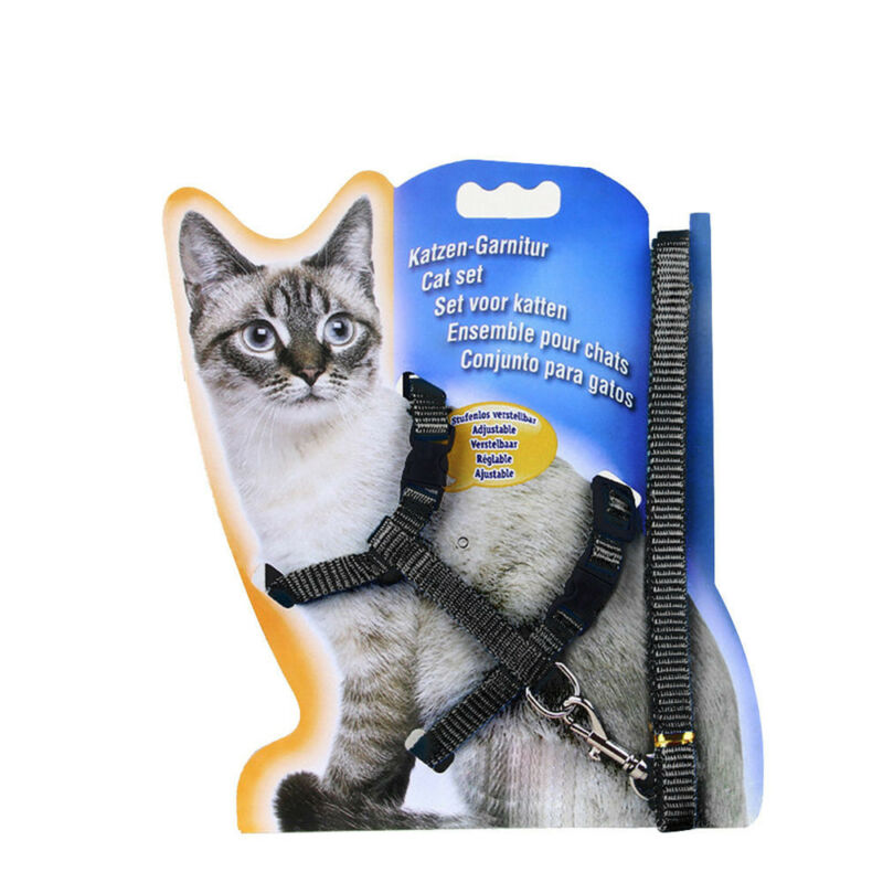 solid Cat Puppy Adjustable Harness Collar Nylon Leash Lead Safety Walking Rope 6