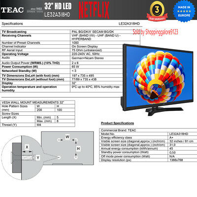 "TEAC 32"" Inch HD SMART TV Netflix Youtube WIFI PVR APP Made Europe 3 Yr Warranty 12"