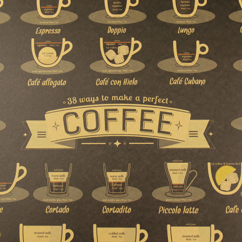 Coffee Bar Decoration Kraft Paper Retro Poster Vintage Picture Wall Sticker 6