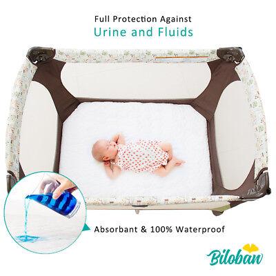 "Waterproof Crib Mattress Pad Cover Fits Pack N Play or Mini Crib 39"" x 27"" White 2"