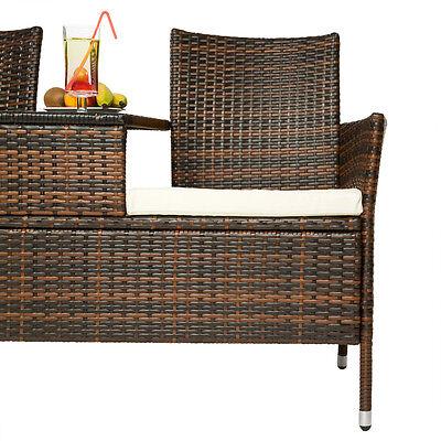SALON DE JARDIN canapé banc avec table intégrée résine tressée poly ...