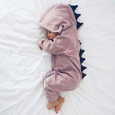 Newborn Infant Baby Boy Girl Kids Dinosaur Hooded Romper Jumpsuit Clothes Outfit 4
