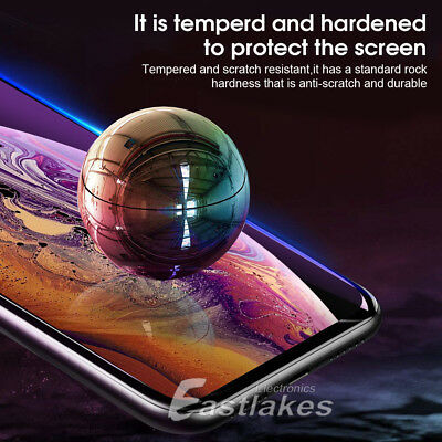 2X Apple iPhone XS Max XR X 6D Full Cover Screen Protector Tempered Glass Black 6