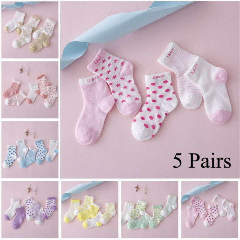 5 Pairs Baby Boy Girl Cotton Cartoon Socks NewBorn Infant Toddler Kids Soft Sock 3